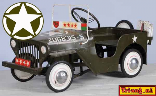 "Tri-ang ( Triang ) Pedal Car U.S. Army Jeep White Star Bonnet decal "" Peel and stick."""